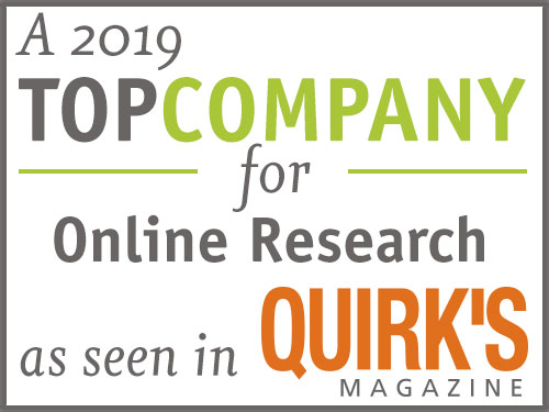 A 2019 Top Company for Online Research as seen in QUIRK'S Magazine